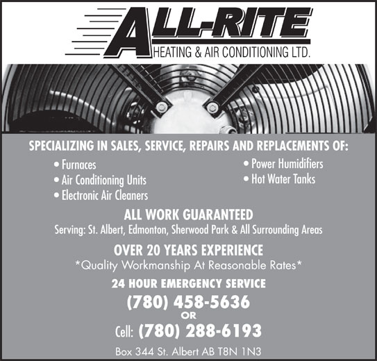 All-Rite Heating & Air Conditioning Ltd (780-458-5636) - Annonce illustrée======= -