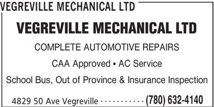 Vegreville Mechanical Ltd (780-632-4140) - Display Ad -