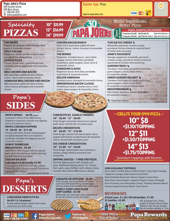Papa John's Pizza - Fredericton, NB - 528 Smythe St | Canpages