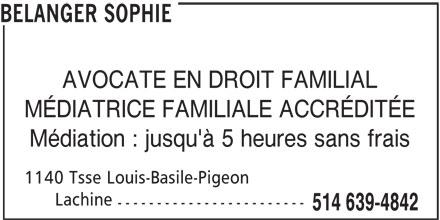 Bélanger Sophie (514-639-4842) - Annonce illustrée======= -