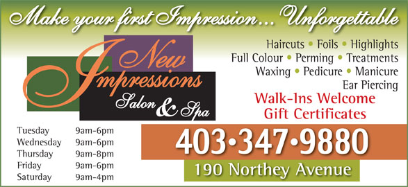 New Impressions Salon & Spa (403-347-9880) - Display Ad -