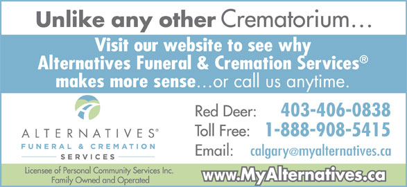 Alternatives Funeral & Cremation Services (403-341-5181) - Display Ad - 403-406-0838 1-888-908-5415