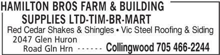 Hamilton Bros Farm & Building Supplies Ltd-TIM BR-Mart (705-466-2244) - Annonce illustrée======= -