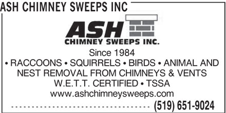 Ash Chimney Sweeps Inc (519-651-9024) - Annonce illustrée======= -