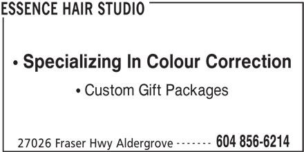 Essence Hair Studio (604-856-6214) - Annonce illustrée======= - Custom Gift Packages ------- 604 856-6214 27026 Fraser Hwy Aldergrove ESSENCE HAIR STUDIO Specializing In Colour Correction