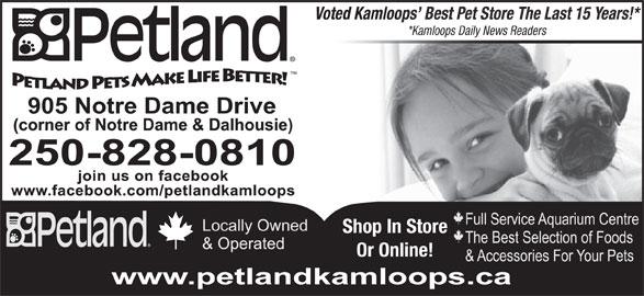 Petland (250-828-0810) - Display Ad - *Kamloops Daily News Readers Shop In Store Or Online! Voted Kamloops  Best Pet Store The Last 15 Years!* Voted Kamloops  Best Pet Store The Last 15 Years!* *Kamloops Daily News Readers Shop In Store Or Online!