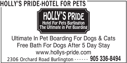 Holly's Pride-Hotel For Pets (905-336-8494) - Display Ad - HOLLY S PRIDE-HOTEL FOR PETS Ultimate In Pet Boarding For Dogs & Cats Free Bath For Dogs After 5 Day Stay www.hollys-pride.com ------ 905 336-8494 2306 Orchard Road Burlington