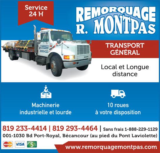 Remorquage R Montpas Inc (819-233-4414) - Annonce illustrée======= -