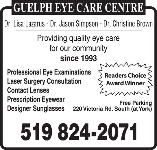Guelph Eye Care Centre (519-824-2071) - Display Ad -