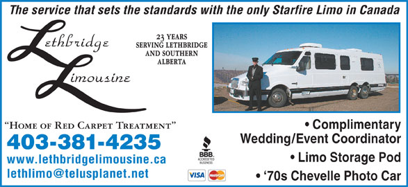 Lethbridge Limousine (403-381-4235) - Display Ad -