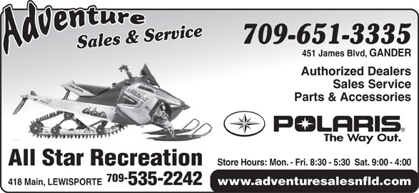 Adventure Sales And Service (709-651-3335) - Display Ad -