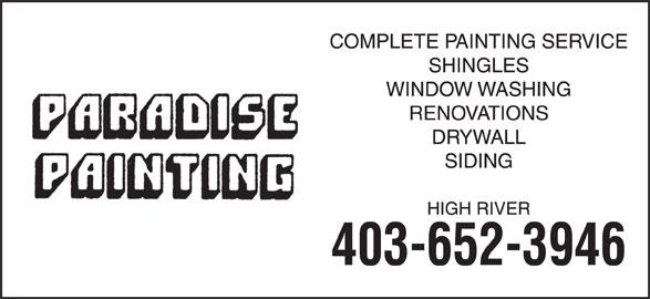 Paradise Painting (403-652-3946) - Display Ad -
