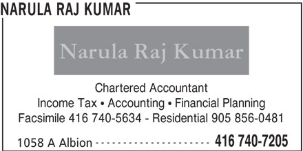Narula Raj Kumar (416-740-7205) - Display Ad - Income Tax   Accounting   Financial Planning Facsimile 416 740-5634 - Residential 905 856-0481 --------------------- 416 740-7205 1058 A Albion NARULA RAJ KUMAR Chartered Accountant