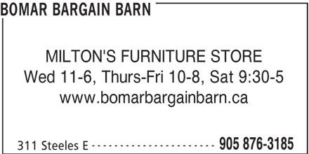 Bomar Bargain Barn 311 Steeles Ave E Milton On
