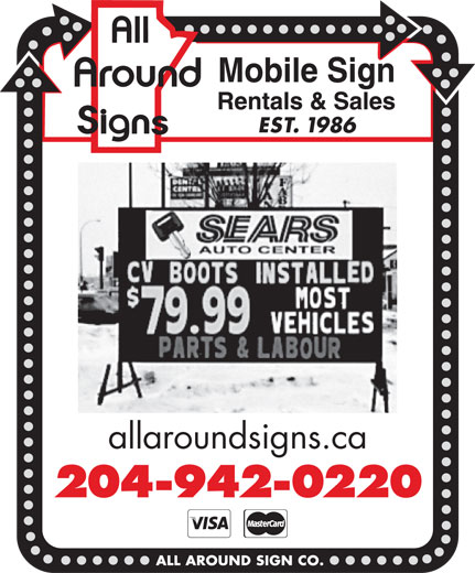 All Around Sign Co (204-942-0220) - Display Ad - EST. 1986 allaroundsigns.ca 204-942-0220