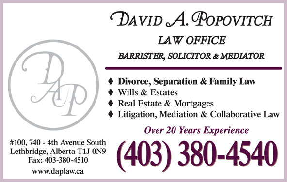 Popovitch David A Law Office (403-380-4540) - Display Ad -