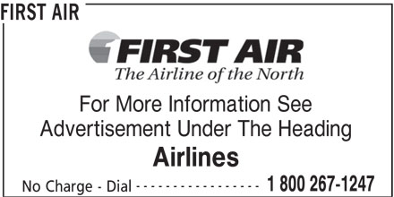 First Air (1-800-267-1247) - Annonce illustrée======= -