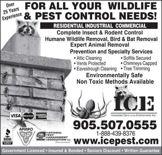 ICE Pest Control & Wildlife (905-507-0555) - Annonce illustrée======= -