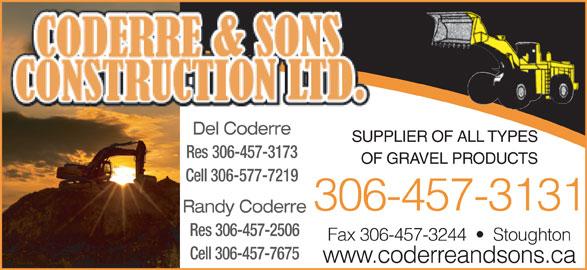 Coderre W H & Sons Construction Ltd (306-457-3131) - Annonce illustrée======= -