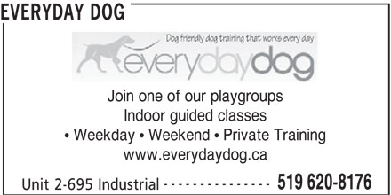 Everyday Dog (519-620-8176) - Display Ad - Join one of our playgroups EVERYDAY DOG Indoor guided classes  Weekday  Weekend  Private Training www.everydaydog.ca --------------- 519 620-8176 Unit 2-695 Industrial