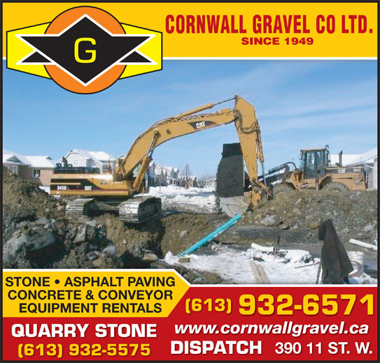 Cornwall Gravel Co Ltd (613-932-6571) - Annonce illustrée======= -