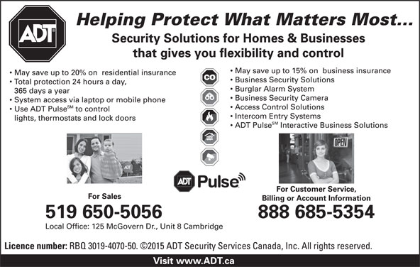 ADT Security Services Canada (1-888-685-5354) - Display Ad -