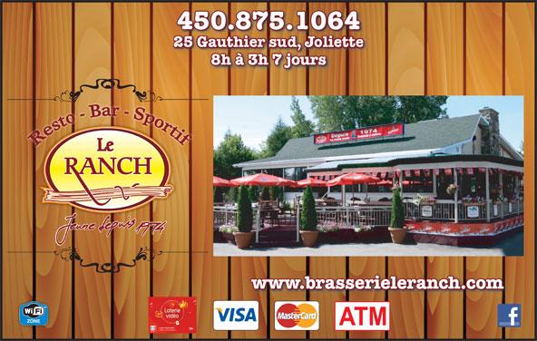 Bar Le Ranch (450-759-4722) - Annonce illustrée======= - 450.875.1064 8h à 3h 7 jours www.brasserieleranch.com