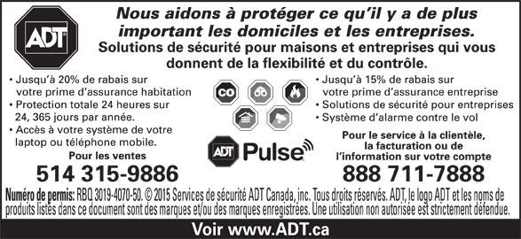 ADT Services De Sécurité Canada (1-888-253-7888) - Annonce illustrée======= -