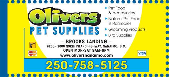 Olivers Pet Supplies (250-758-5125) - Annonce illustrée======= -