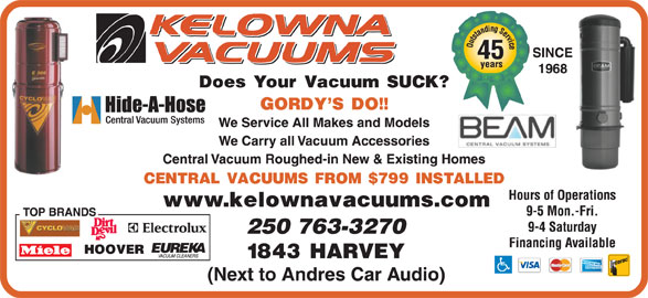 Kelowna Vacuums (250-763-3270) - Display Ad -