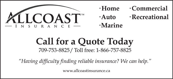 Allcoast Insurance Corporation (709-753-8825) - Display Ad -