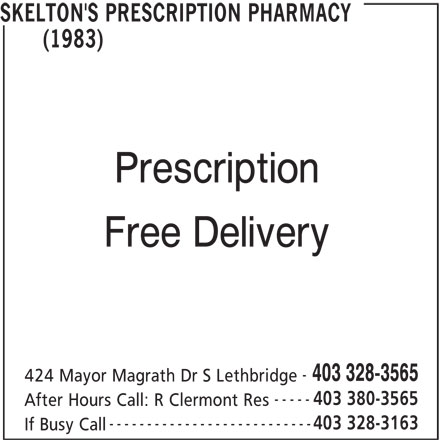 Skelton's Prescription Pharmacy (1983) (403-328-3163) - Display Ad -