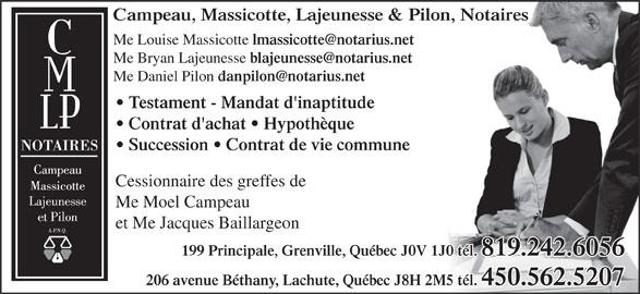 Campeau Massicotte Lajeunesse & Pilon (819-242-6056) - Annonce illustrée======= -