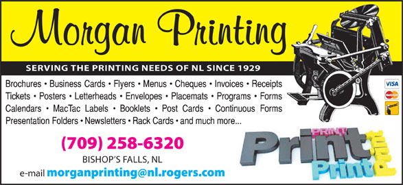Morgan Printing (709-258-6320) - Display Ad -