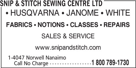 Ads Snip & Stitch Sewing Centre Ltd