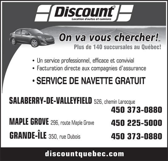 Discount Location d'Autos et Camions (450-373-0880) - Annonce illustrée======= -