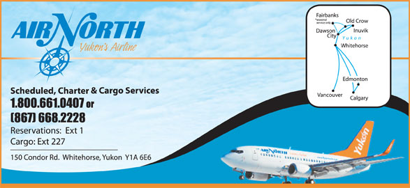 Air North/Yukon's Airline (1-800-661-0407) - Display Ad -