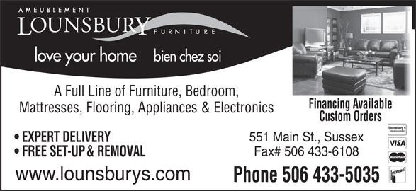 Lounsbury Furniture (506-433-5035) - Annonce illustrée======= -