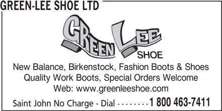 Green-Lee Shoe Ltd (1-800-463-7411) - Annonce illustrée======= -