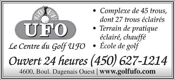 Club De Golf UFO (450-627-1214) - Annonce illustrée======= -