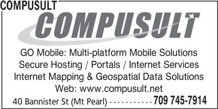 PODS Tender Delivery Service Provided by Compusult (709-745-7914) - Display Ad - COMPUSULT GO Mobile: Multi-platform Mobile Solutions Secure Hosting / Portals / Internet Services Internet Mapping & Geospatial Data Solutions Web: www.compusult.net 709 745-7914 40 Bannister St (Mt Pearl) -----------