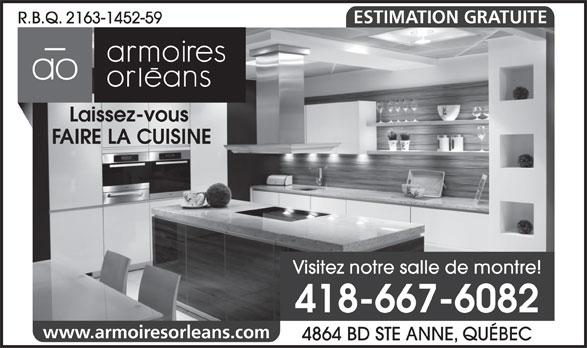 Armoire Orléans (418-667-6082) - Annonce illustrée======= - ESTIMATION GRATUITE R.B.Q. 2163-1452-59 Laissez-vous FAIRE LA CUISINE Visitez notre salle de montre! 418-667-6082 www.armoiresorleans.com 4864 BD STE ANNE, QUÉBEC