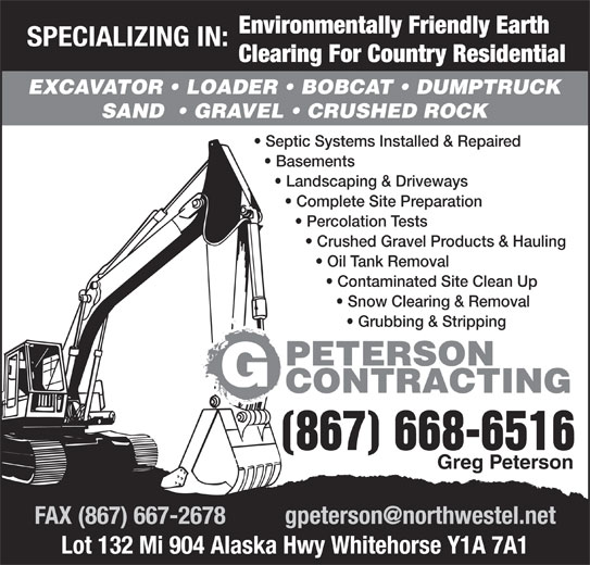 Peterson G Contracting (867-668-6516) - Annonce illustrée======= -