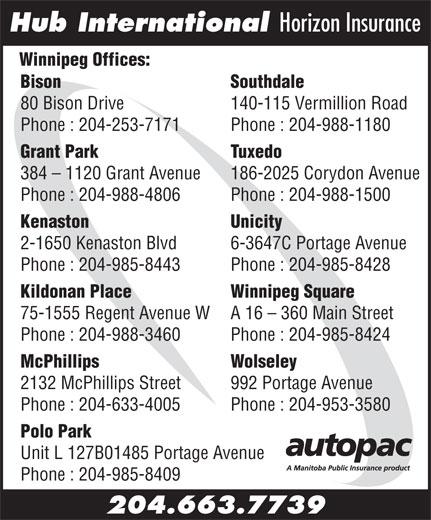 Hub International Horizon Insurance (204-663-7739) - Display Ad - Hub International Horizon Insurance Winnipeg Offices: Bison                                                                                  Southdale 140-115 Vermillion Road Phone : 204-253-7171 Phone : 204-988-1180 Grant Park Tuxedo 384 - 1120 Grant Avenue 186-2025 Corydon Avenue Phone : 204-988-4806 Phone : 204-988-1500 Kenaston Unicity 2-1650 Kenaston Blvd 6-3647C Portage Avenue Phone : 204-985-8443 Phone : 204-985-8428 Kildonan Place Winnipeg Square 75-1555 Regent Avenue W A 16 - 360 Main Street Phone : 204-988-3460 Phone : 204-985-8424 McPhillips Wolseley 2132 McPhillips Street 992 Portage Avenue Phone : 204-633-4005 Phone : 204-953-3580 Polo Park Unit L 127B01485 Portage Avenue Phone : 204-985-8409 204.663.7739 80 Bison Drive Polo Park Unit L 127B01485 Portage Avenue Phone : 204-985-8409 204.663.7739 Hub International Horizon Insurance Winnipeg Offices: Bison                                                                                  Southdale 80 Bison Drive 140-115 Vermillion Road Phone : 204-253-7171 Phone : 204-988-1180 Grant Park Tuxedo 384 - 1120 Grant Avenue 186-2025 Corydon Avenue Phone : 204-988-4806 Phone : 204-988-1500 Kenaston Unicity 2-1650 Kenaston Blvd 6-3647C Portage Avenue Phone : 204-985-8443 Phone : 204-985-8428 Kildonan Place Winnipeg Square 75-1555 Regent Avenue W A 16 - 360 Main Street Phone : 204-988-3460 Phone : 204-985-8424 McPhillips Wolseley 2132 McPhillips Street 992 Portage Avenue Phone : 204-633-4005 Phone : 204-953-3580