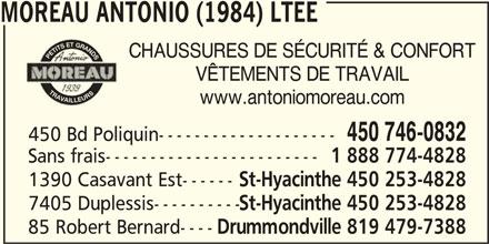Antonio Moreau (1984) Ltée (450-746-0832) - Annonce illustrée======= -
