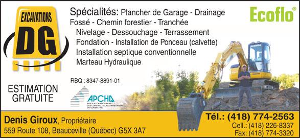 Excavations d g inc 559 rte 108 beauceville qc for Garage ad angers route de bouchemaine