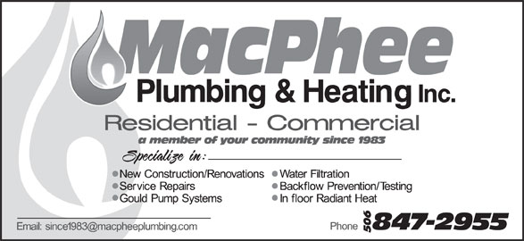MacPhee Plumbing & Heating Ltd (506-847-2955) - Display Ad -