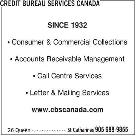 credit bureau services canada st catharines on 26 queen st canpages. Black Bedroom Furniture Sets. Home Design Ideas