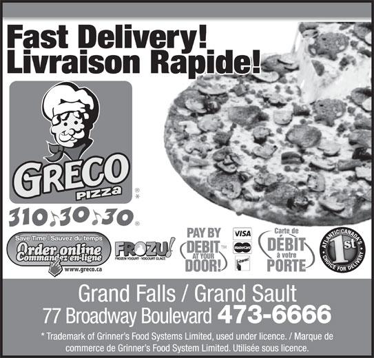 Greco Pizza (506-473-6666) - Annonce illustrée======= -