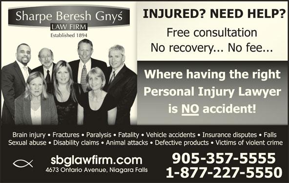 Sharpe Beresh & Gnys (905-357-5555) - Display Ad - sbglawfirm.com 4673 Ontario Avenue, Niagara Falls
